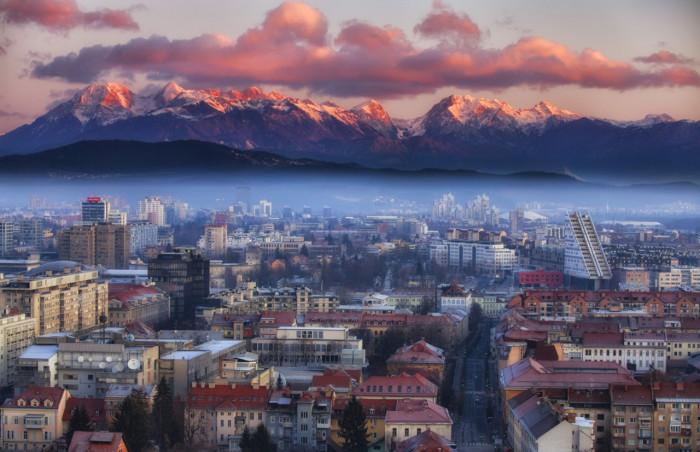 Любляна. Вид на Альпы