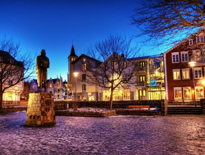Исландский городок зимой