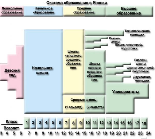 Схема системы образования в Японии