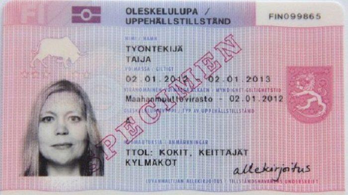 Образец финского вида на жительство, дающего право на работу