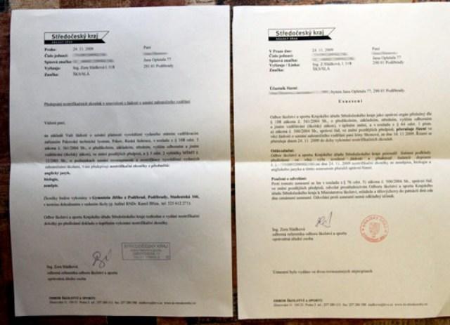 Пример нострификации диплома в Чехии