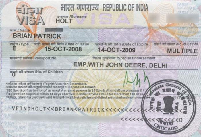 Рабочая виза в Индию