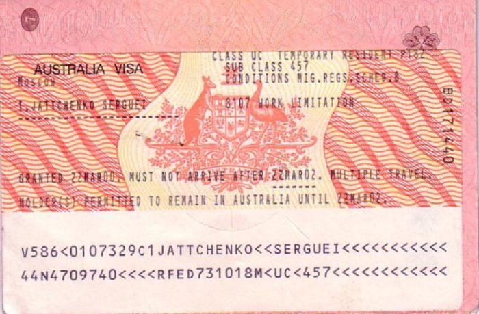 Образец временной рабочей визы подкласса 457