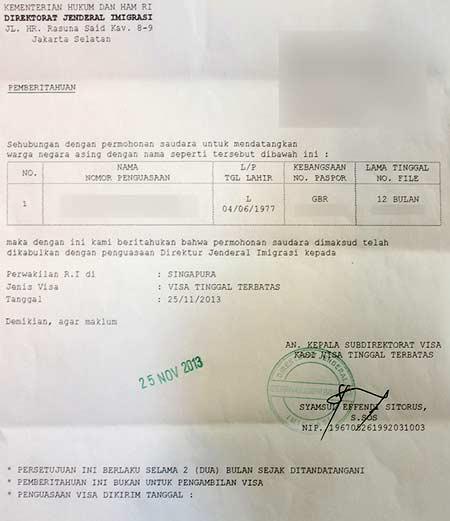 Подтверждение разрешения на выдачу вида на жительство (TELEX)