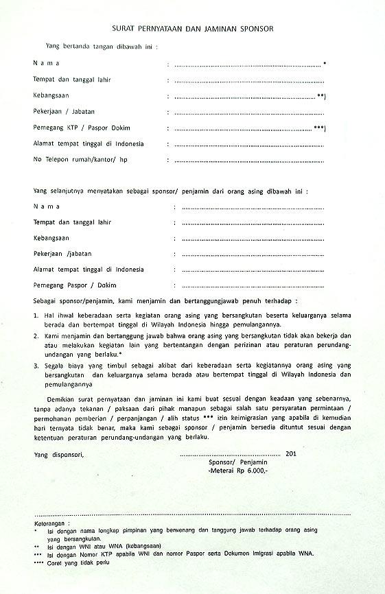 Бланк спонсорского приглашения для социальной визы