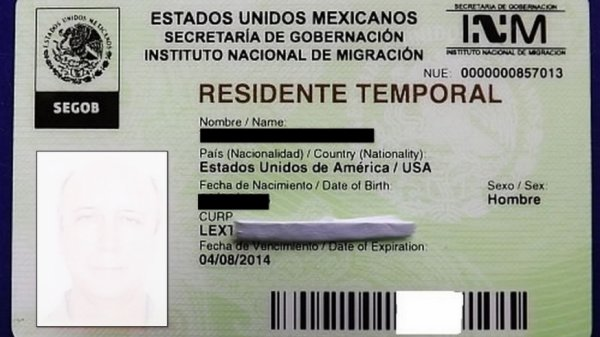Карта временного резидента Мексики