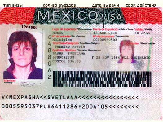 Образец многократной визы в Мексику