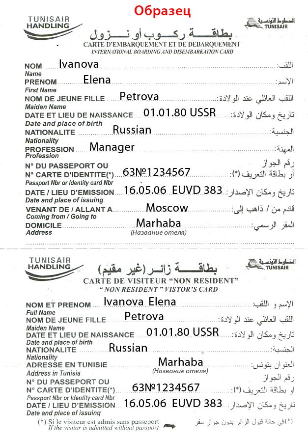 Тунис, документы для въезда