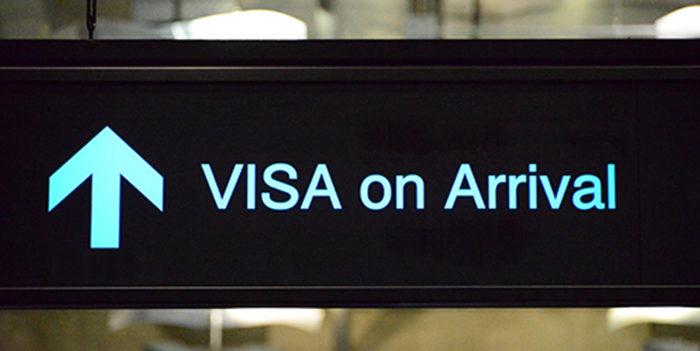 Указатель на пункт оформления визы по прибытии