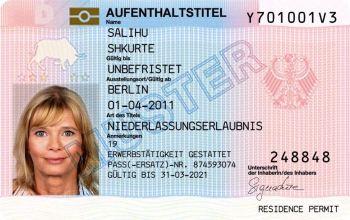 Образец ВНЖ Германии