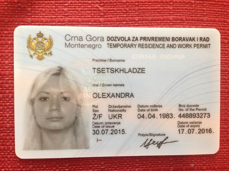 Документы в черногорию