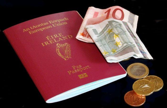 Ирландский паспорт, монеты и купюры