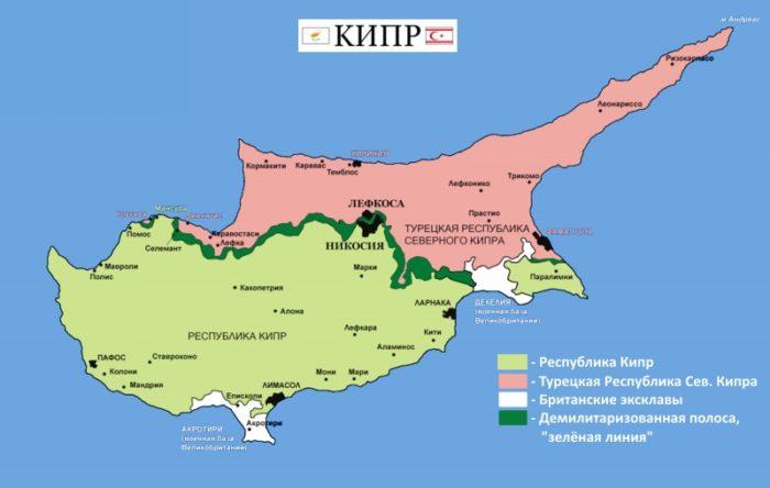 Политическая карта о. Кипр