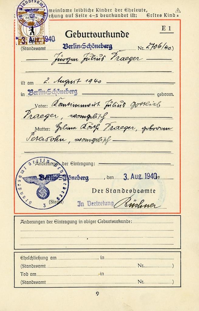 Архивное свидетельство о рождении в Германии