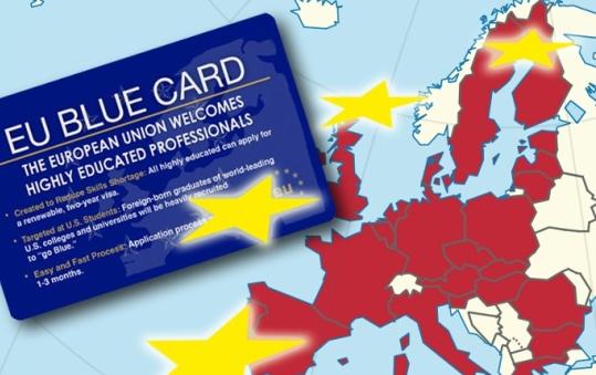 Blue card и Евросоюз на карте