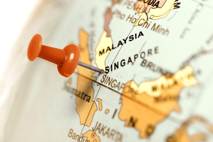 Кнопка, указывающая Сингапур на карте