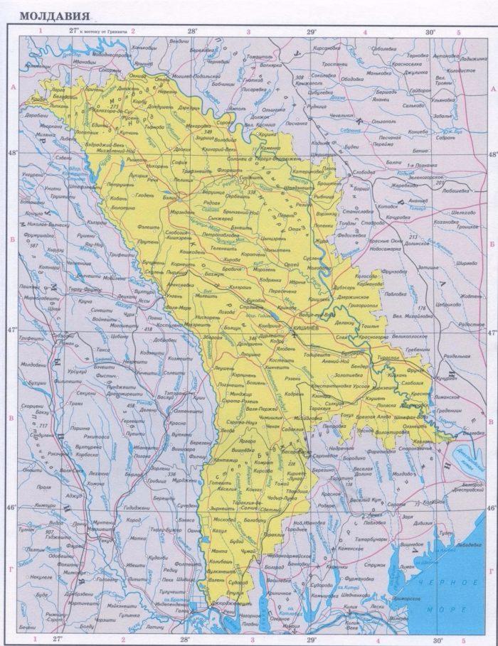 Географическая карта Молдавии