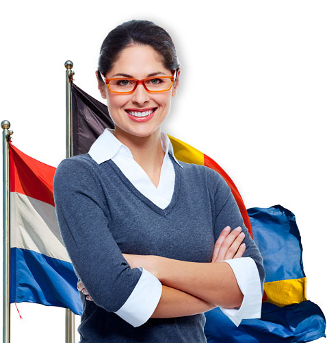 Девушка на фоне флагов