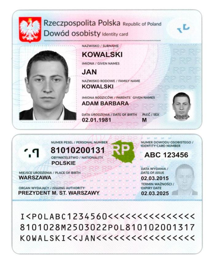 ID-карта гражданина Польши: лицевая и оборотная сторона