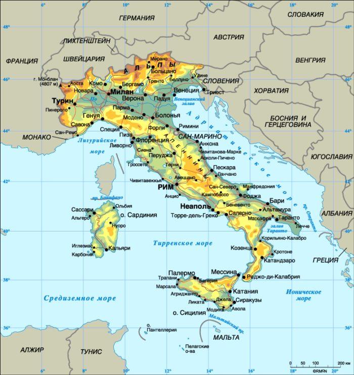 Италия на карте