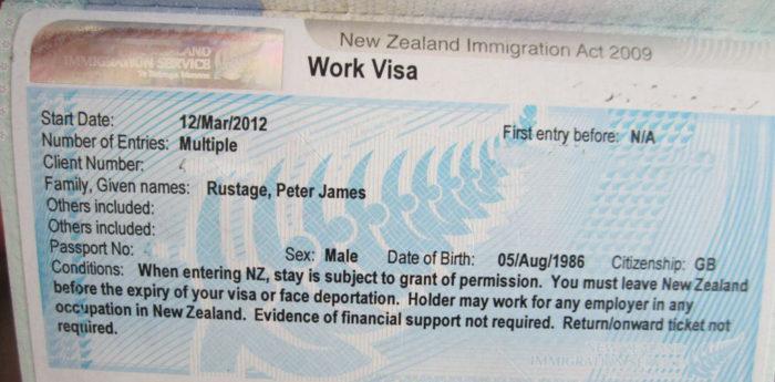 Образец новозеландской рабочей визы