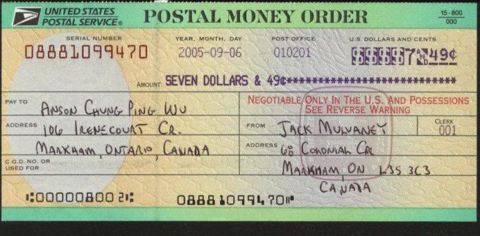 Пример иностранной квитанции