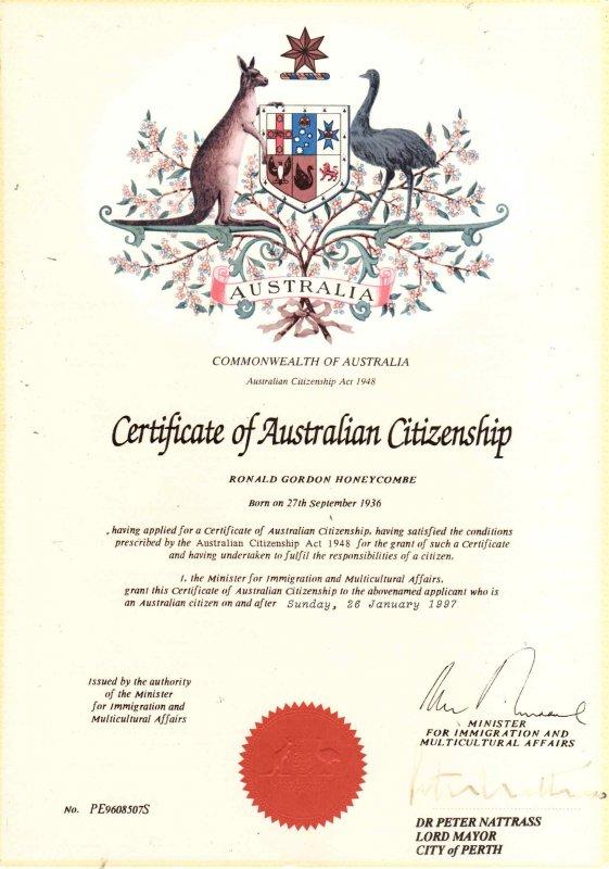 сертификат гражданства Австралии