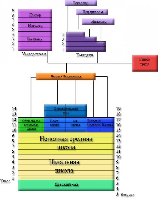 Схема ступеней обучения в Израиле