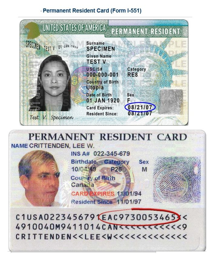 Образец United States Permanent Resident Card