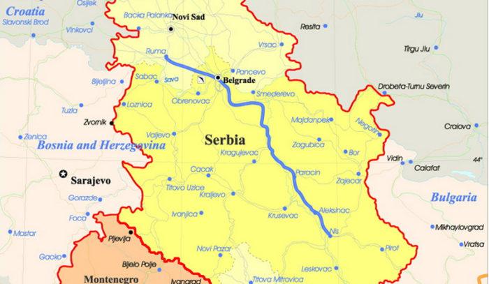 Сербия на карте