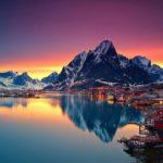 Город в Норвегии полярной ночью
