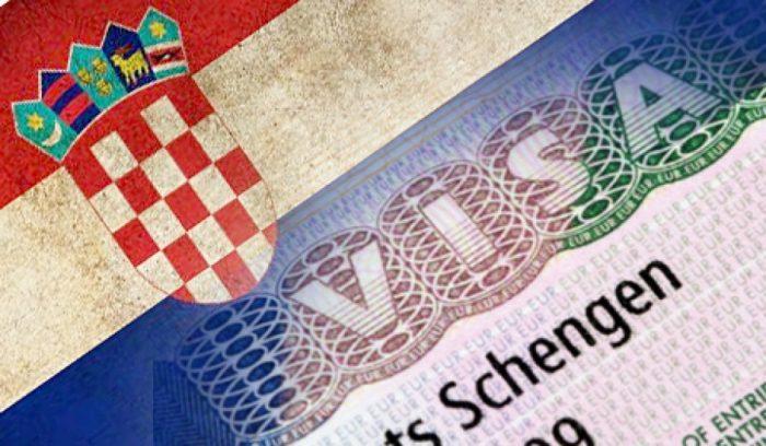 Флаг Хорватии на фоне шенгенской визы