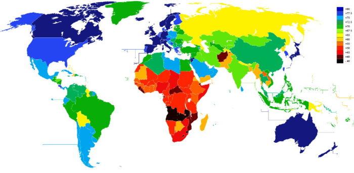 Средняя продолжительности жизни населения Земли