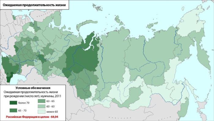 Продолжительность жизни в регионах РФ