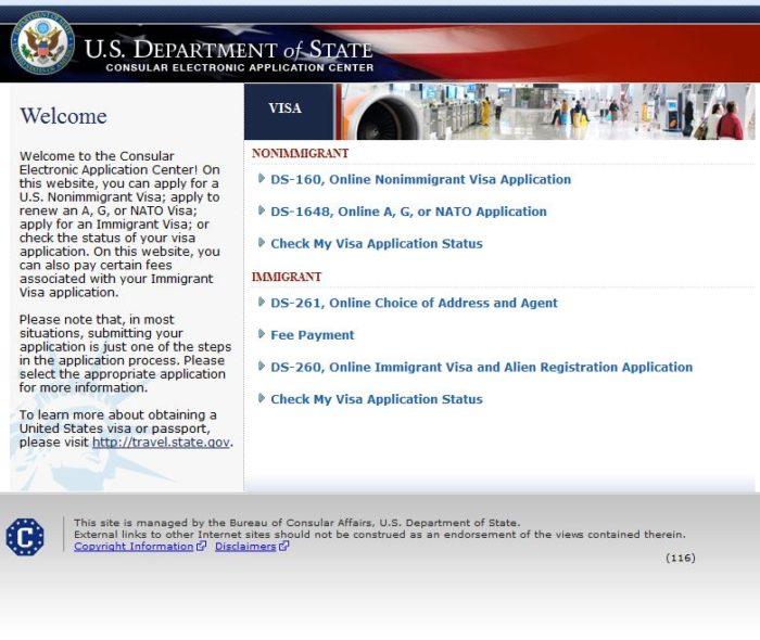 Сайт консульского центра CEAC