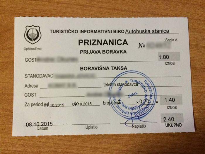 документ о регистрации иностранца в Черногории