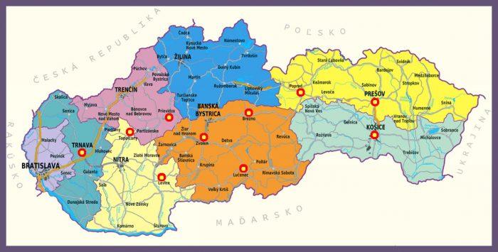 Карта административного деления Словакии