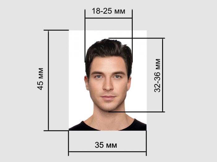 Размеры лица на фото для паспорта