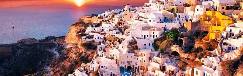 Греческий пейзаж на закате дня