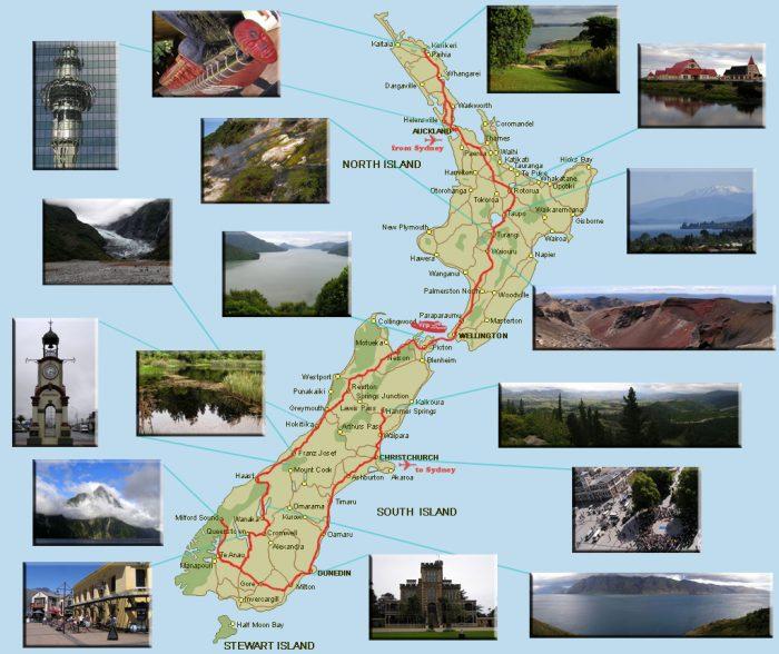 Туристическая карта Новой Зеландии