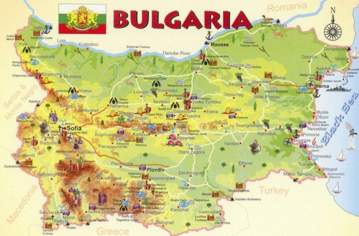 Туристическая карта Болгарии на английском языке