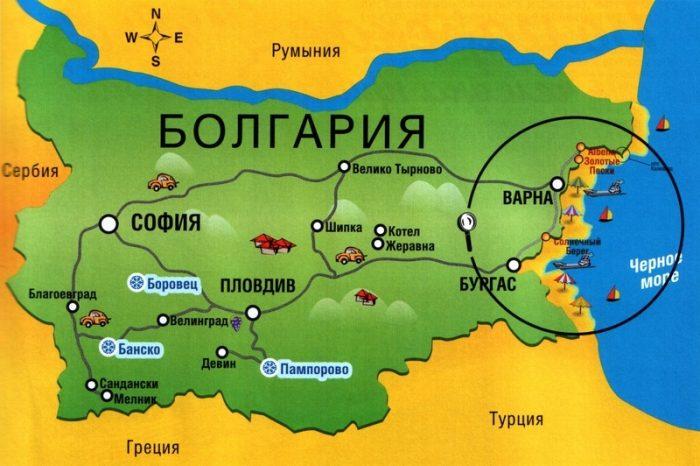 Туристическая карта Болгарии на русском языке