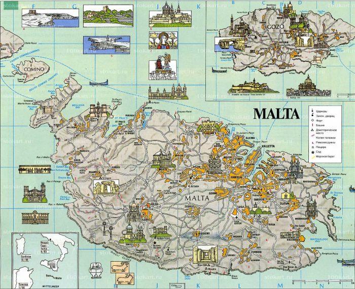 Туристическая карта Мальты