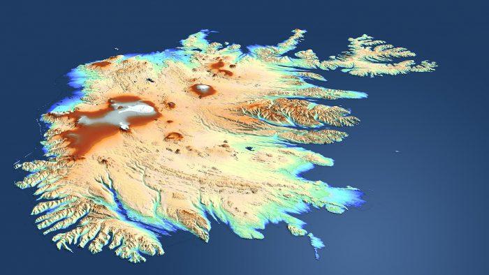 Рельеф острова Исландия схематично