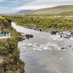 Вид на водопад Барнафосс в Исландии
