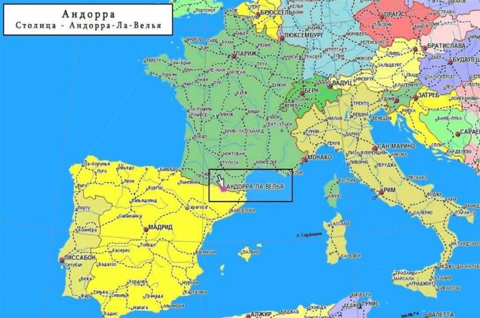 Карта Европы с обозначением государства Андорра