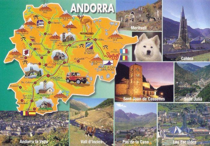 Туристическая карта Андорры с фотографиями