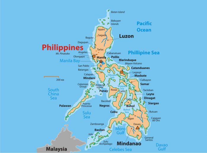 Карта Филиппин с островами