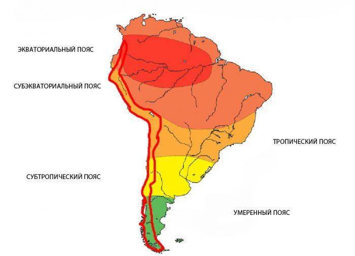 Карта климатических поясов Южной Америки