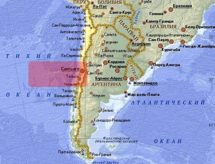 Карта Южной Америки с выделенным Центральным Чили